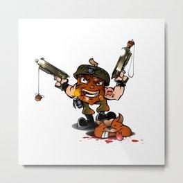 soldier nut cartoon Metal Print