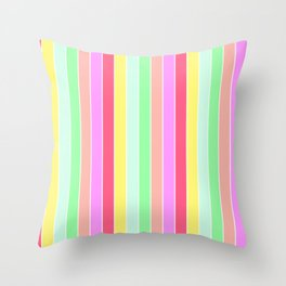 Pastel Rainbow Sorbet Deck Chair Stripes Throw Pillow