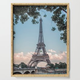 Eiffel Tower During Sunset | City Urban Landscape Photography of Paris France Serving Tray