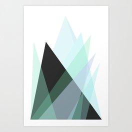 Minimalist Abstract Blue Mountains  Art Print