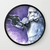 stormtrooper Wall Clocks featuring Stormtrooper by KristinMillerArt