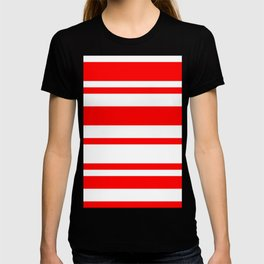 Mixed Horizontal Stripes - White and Red T-shirt