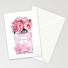 Perfume, watercolor, perfume bottle, with flowers, pink, Silver, peonies, Fashion illustration Stationery Cards