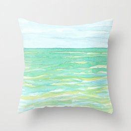 Ocean Mint watercolor seascape mint green Throw Pillow