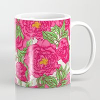 peonies Mugs featuring peonies by melazerg