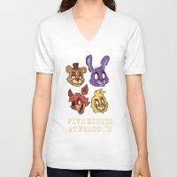 fnaf V-neck T-shirts featuring FNAF Five Nights At Freddy's by Kam-Fox