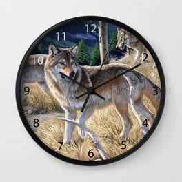 Wolf in winter forest Wall Clock