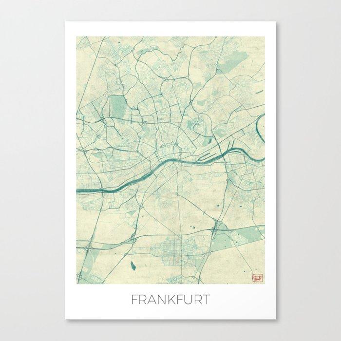 Frankfurt Map Blue Vintage Canvas Print