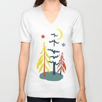 skiing V-neck T-shirts featuring Retro Skiing  by beach please