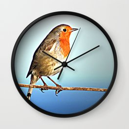 Robin Bird on Wire, Lonely Love Blue Photography Wall Clock