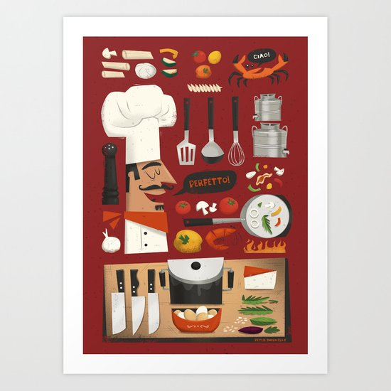 Italian kitchen art print by peter donnelly illustration for Italian kitchen prints