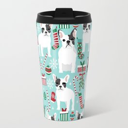 French Bulldog festive holiday pet portrait for frenchie owner pet friendly dog illustration Travel Mug