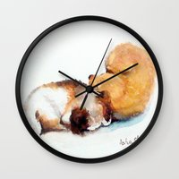 puppies Wall Clocks featuring Stray puppies by AShenoi