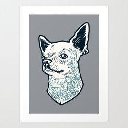 Tattooed Chihuahua Art Print
