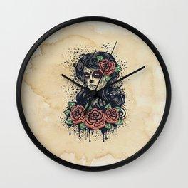Vintage sugar skull girl Wall Clock