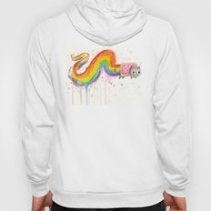 Rainbow Cat Meme Geek Whimsical Animal Painting Hoody