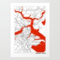 boston map Art Prints featuring Downtown Boston Map by Studio Tesouro