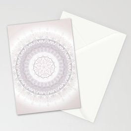Floral Damask Mandala Blush White Stationery Cards