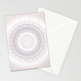 Floral Damask Mandala Blush White Stationery Cards