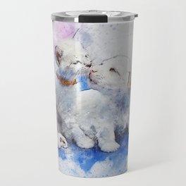 Cat Dog Cute Art Abstract Watercolor Vintage Travel Mug