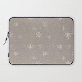 Snow Flakes pattern Beige #homedecor #nurserydecor Laptop Sleeve