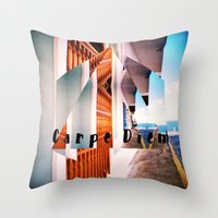 puerto rico Throw Pillows featuring Carpe Diem in Puerto Rico by Forgotten Charm