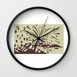 Volcano Eruption Island Woodcut Wall Clock