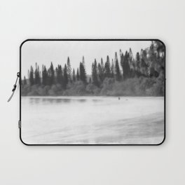 Foggy morning at the beach in black and white Laptop Sleeve