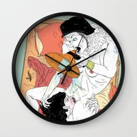 sex and the city Wall Clocks featuring Sex Needs by Dushan Milic