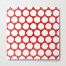 Red Asian Moods Ikat Dots Metal Print