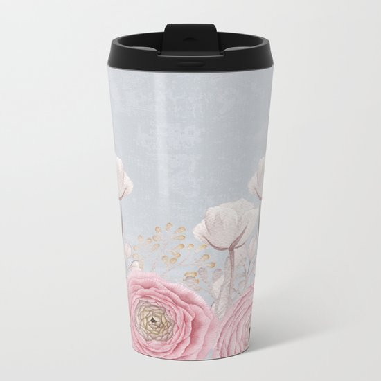 Floral Spring Greatings - Pastel Flowers on #Society6 Metal Travel Mug