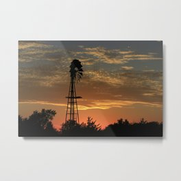Kansas Golden Sunset with Windmill Silhouette Metal Print