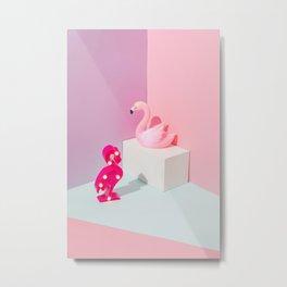 Plastic Flamingos Metal Print