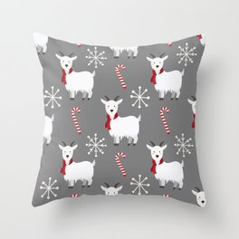 Christmas Candy Goat Throw Pillow