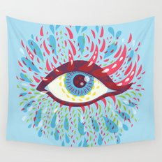 Weird Blue Psychedelic Eye Wall Tapestry