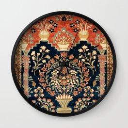 Kashan Poshti  Antique Central Persian Rug Print Wall Clock