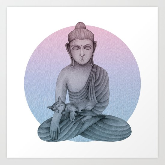 Buddha with cat 1 by kindspirits