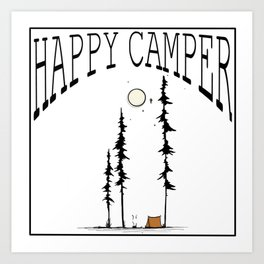 Happy Camper - with Lettering Art Print