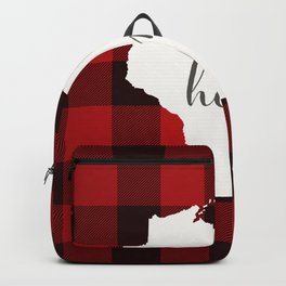 Wisconsin is Home - Buffalo Check Plaid Backpack