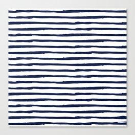 Navy Blue Stripes on White Canvas Print