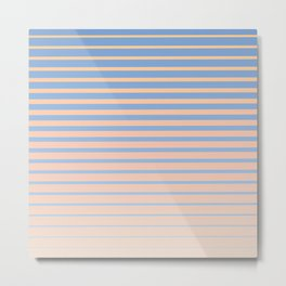 Abstract Beach Edge - Abstract Pastel Striped Gradient of sands, tans, and ocean blues Metal Print