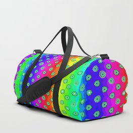 Rainbow and green flowers Duffle Bag