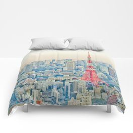 Tokyo tower Comforters