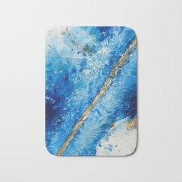 Blue Skies [2]: a pretty, abstract mixed-media piece in blue, gold and white Bath Mat