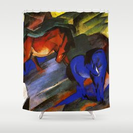 "Franz Marc ""Red and Blue Horses"" Shower Curtain"