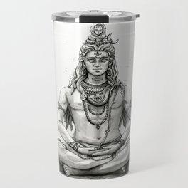 Lord Shiva Painting, Shiva Art, Meditation Shiva Portrait Travel Mug