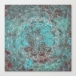 Rusty Cyan Red Mandala Design Canvas Print