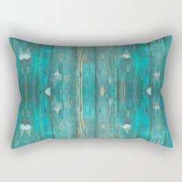 Distressed Green Wood Pattern Rectangular Pillow
