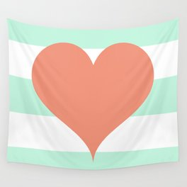 Large Heart on Stripes in Coral and Mint Wall Tapestry