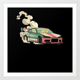 Drifting Retro Drifting Car Motif Art Print